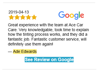 Ace Tinted Car WIndows Review