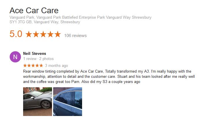 Neil Stevens Audi Tinting Telford Review